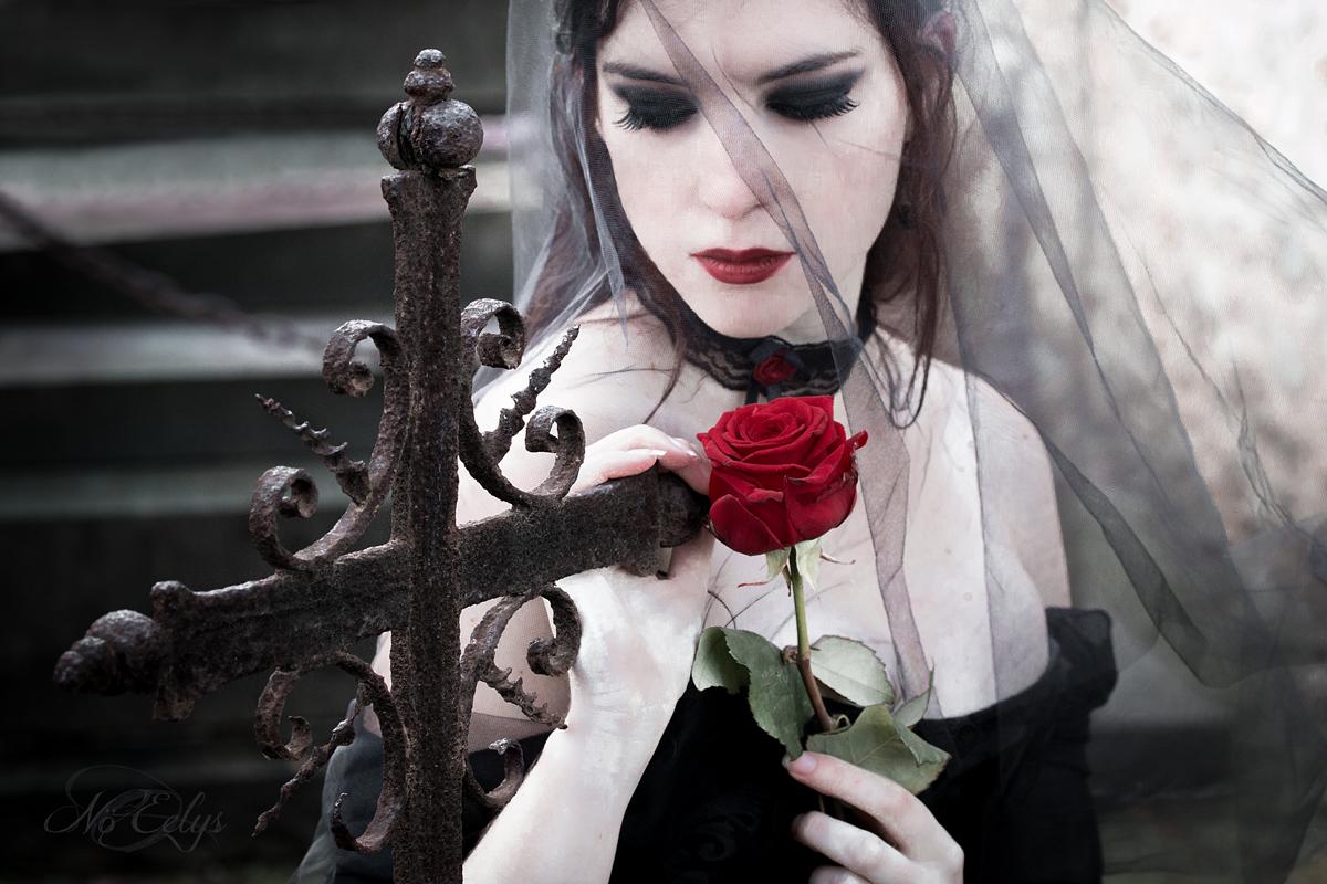 Portrait gothique romantique cimetière rose rouge, Aria Aslinn Modèle, Nö Eelys Photo