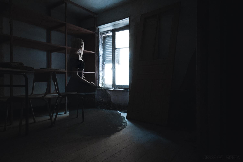 Nö Eelys par Jesse Gourgeon, modèle alternative gothique romantique, urbex et manoir hanté, fantôme
