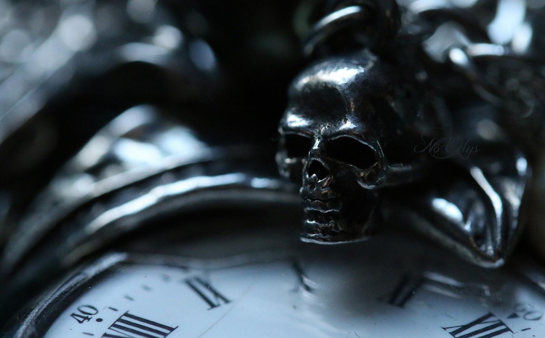 Memento Mori, nature morte gothique mélancolique, macrophoto bijoux Alchemy Gothic par Nö Eelys